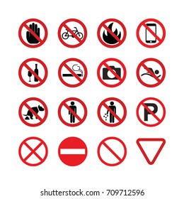 Prohibition signs, no symbols vector icon