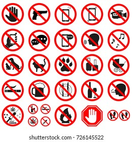 prohibition signs on white background