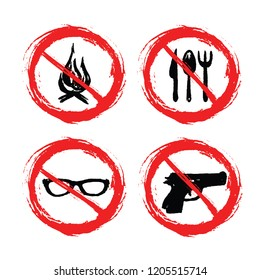 Prohibition signs - set of hand-drawn signs - fire  cutlery  glasses  gun - grunge
