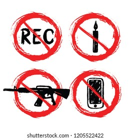 Prohibition signs - set of hand-drawn signs - recording  candle  machine gun  smartphone - grunge