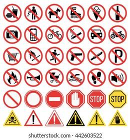 Prohibition signs set vector illustration