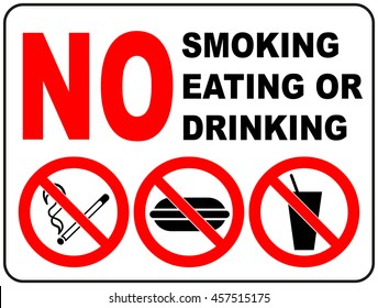 Prohibition Signs for Smoking, Eating and Drinking General prohibition symbol sticker for public places Vector illustration