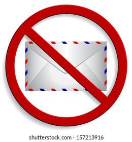 Prohibition spam sign on white background. Vector illustration.