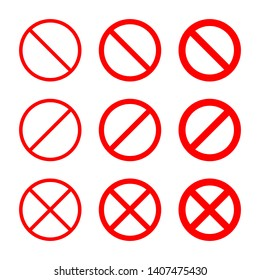 Prohibition symbol icon set. Red circle with crossed line, collection of different thickness, from thin to thick. Vector illustration of ban, warning, stop sign, not allowed sign. Protest template.