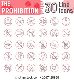 Prohibition thin line icon set, forbidden symbols collection, vector sketches, logo illustrations, ban signs linear pictograms package isolated on white background, eps 10.