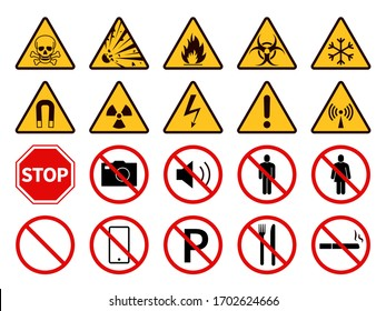 Prohibition and warning signs. Public safety, caution. Attention, forbidden smoke, fire and electricity, food, phone and parking vector set of pictograms