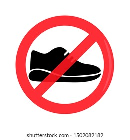 Prohibition of wearing shoes sign vector graphic. Athletic shoes crossed out.
