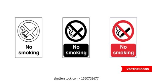 Prohibitory sign no smoking icon of 3 types: color, black and white, outline. Isolated vector sign symbol.