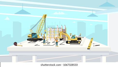 Project in Architect Office of Construction House. Cartoon Characters Working with Crane and Build Real Estate Housing. Builder and Engineer Job.