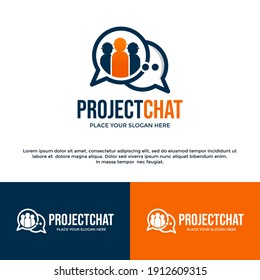 Project chat vector logo template. This design use discussion symbol. Suitable for industrial