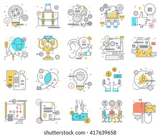 Project development concept illustrations, icons, backgrounds and graphics. The illustration is colorful, flat, vector, pixel perfect, suitable for web and print. It is linear stokes and fills.