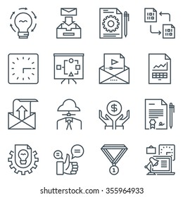 Project development icon set suitable for info graphics, websites and print media. Black and white flat line icons.