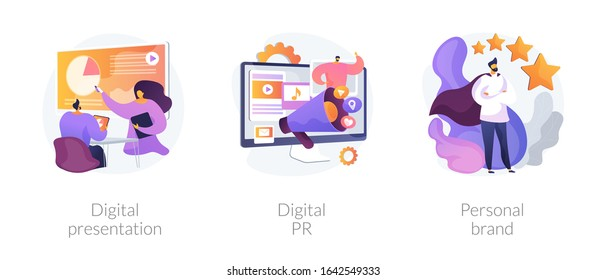 Project development, online advertisement, branding, successful startup. Digital presentation, digital PR, personal brand metaphors. Vector isolated concept metaphor illustrations.