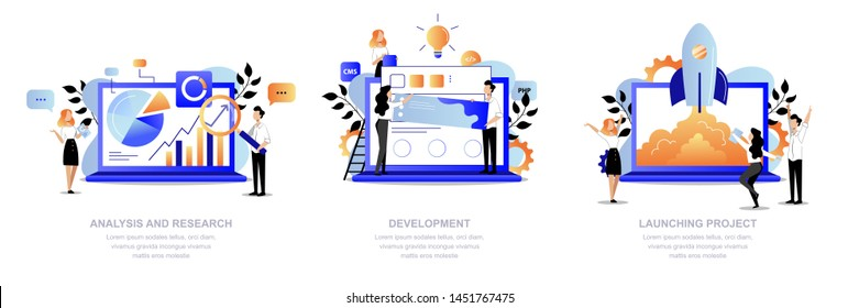 Project development steps business concept. Creative people team make research, analysis, web design and launch startup. Vector flat cartoon trendy illustration. Office teamwork process.