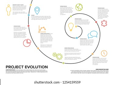 Project evolution timeline template with spiral model and icons - white version