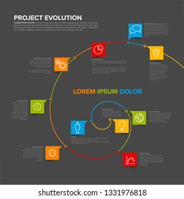 Project evolution timeline template with spiral model and icons - dark version
