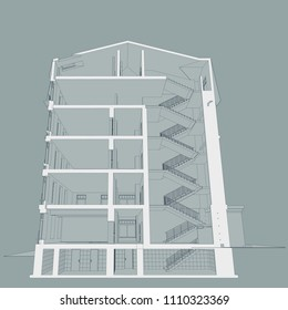 The project of the hotel with apartments and cafes, cross section of the building.3D, perspective, CAD. Vector