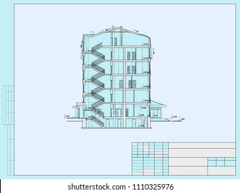 The project of the hotel with apartments and cafes, cross section of the building.Vector