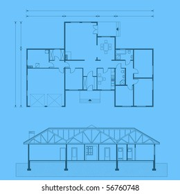 project of house in blue color. detailed project (You can specify the thickness of the lines of the drawing, directly how you need it)