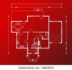 project of house in red-and-white color. detailed project (You can specify the thickness of the lines of the drawing, directly how you need it)