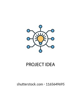 Project idea concept 2 colored line icon. Simple yellow and blue element illustration. Project idea concept outline symbol design from Project management set