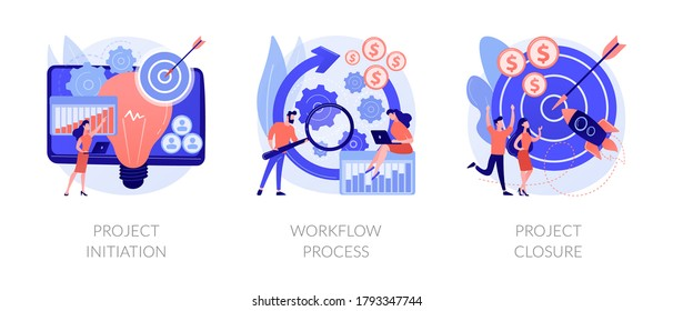 Project implementation abstract concept vector illustration set. Project initiation and closure, workflow process, business analysis, vision and scope, management software, deadline abstract metaphor.
