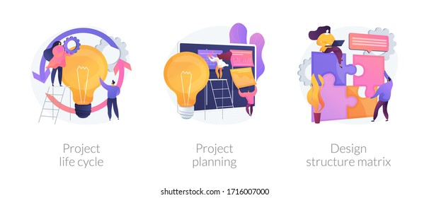 Project life cycle abstract concept vector illustration set. Project planning, design structure matrix, task assignment, business case, business analysis, visual representation abstract metaphor.