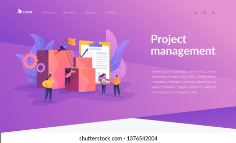Project management, business analysis and planning, waterfall project management concept. Website homepage interface UI template. Landing web page with infographic concept hero header image.