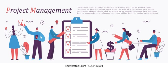 Project management business multitasking concept flat art vector banner. Modern website infographics illustration.
