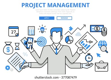 Project management business multitasking concept flat line art vector icons. Modern website infographics illustration hero image web banner printed material. Creative lineart collection.