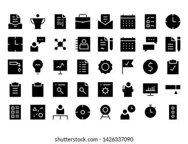 project management glyph icon symbol set