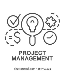 Project management icon. Balance between the shedule, scope, cost. The thin contour lines.