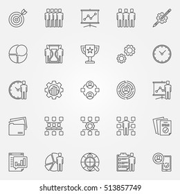 Project management icons set. Vector business development and strategy concept symbols in thin line style