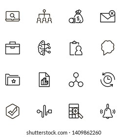 Project management ine icon set. Collection of high quality black outline logo for web site design and mobile apps. Management vector illustration on a white background