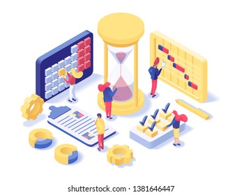 Project management lab isometric illustration. Futuristic time planning department workers scheduling work hours, holidays, deadlines. Female supervisor placing check marks for complete tasks