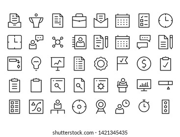 Project Management Line Icon Set