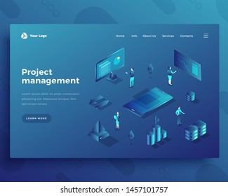 Project management office people characters and interact with dashboard and computer landing page or banner template. 3d isometric vector illustration.
