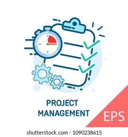Project management. Onboarding screen for mobile apps. Thin line flat for web. Vector modern line design illustration icon