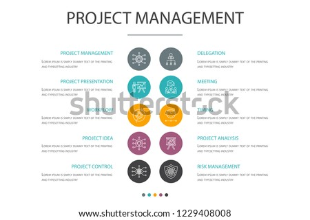 Project Management Presentation Template Cover Layout And Infographics Meeting Workflow