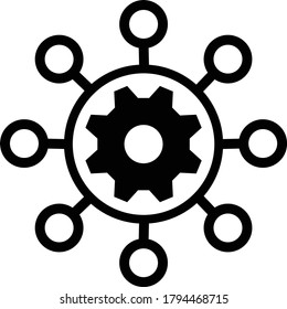 Project management vector icon. filled flat sign for mobile concept and web design. Hub and spokes and gear solid icon.