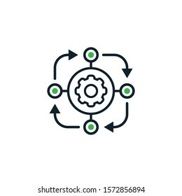 Project management vector icon. Hub and spokes and gear solid