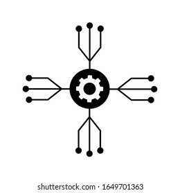 Project management vector icon. Hub and spokes and gear solid. development illustration sign.
