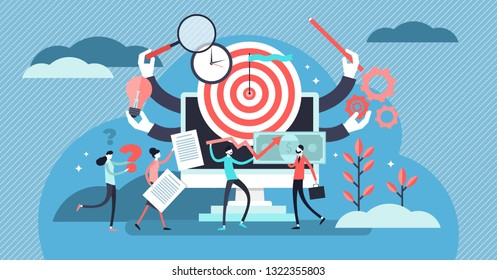 Project management vector illustration. Flat tiny teamwork person concept. Working plan strategy leadership for success development and progress. Finance, communication, investment analysis collection