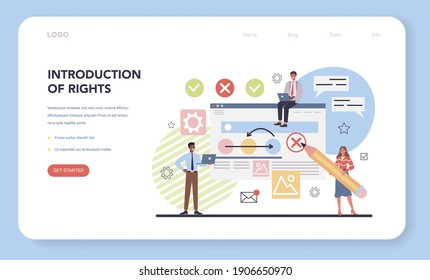 Project management web banner or landing page. Introduction of rights. Consumer protection law document. Marketing analysis and development. Vector illustration in cartoon style