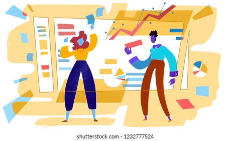 Project managers organizing working process on the board. Agile planning and setting tasks concept. Warm colors vector Illustration.