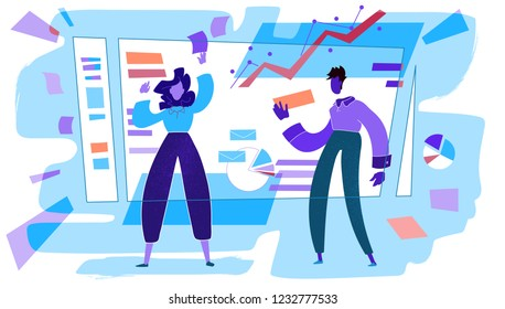 Project managers organizing working process on the board. People conduct analytics. Cold colors vector Illustration.