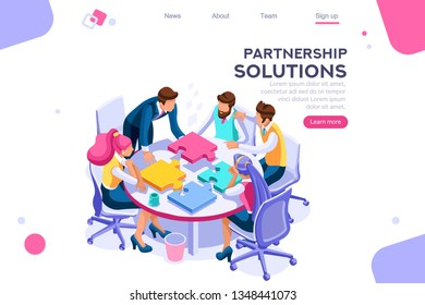 Project pieces, communication, collaboration, partnership solution. Together images, teamwork concept. Can use for web banner, infographics, hero images. Flat isometric vector illustration.