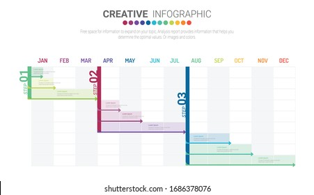 Project plan schedule chart with timeline, gantt progress vector graph. can be used for workflow layout, diagram, annual report, web design. Business concept with 10 options, steps or processes.