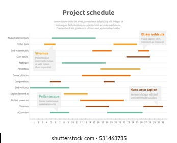 Project plan schedule chart with timeline, gantt progress vector graph.