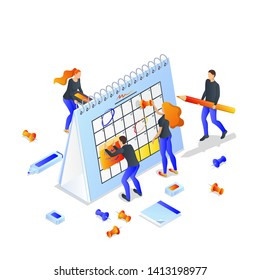 Project planning, deadline and time management concept. Vector 3d isometric illustration isolated on white background. Business team makes office schedule of meetings and events.